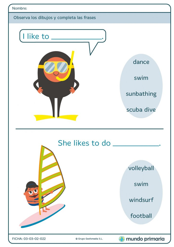 Ficha de inglés about summer vocabulary para 1º de Primaria