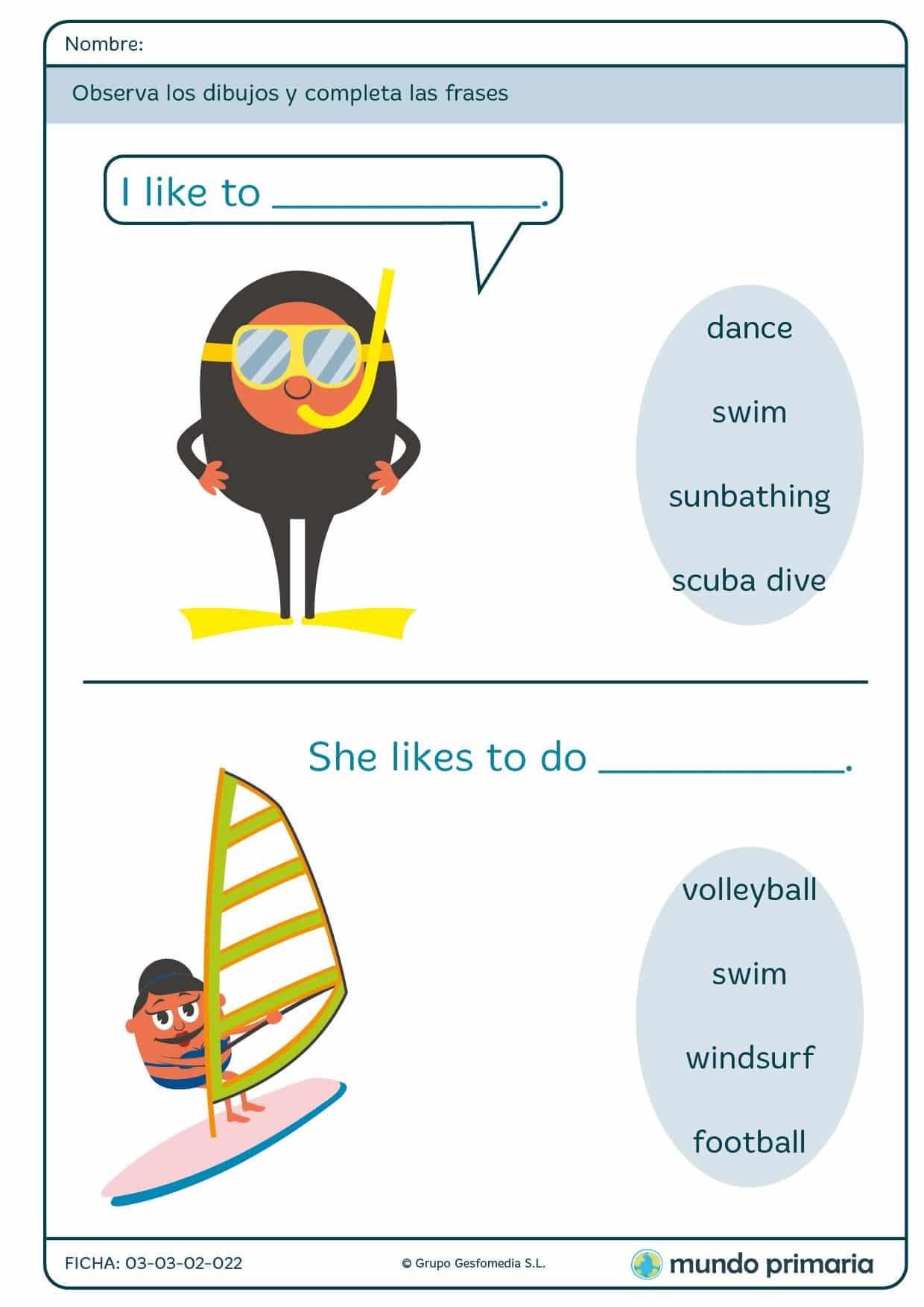 Ficha de inglés about summer vocabulary para 1º de Primaria