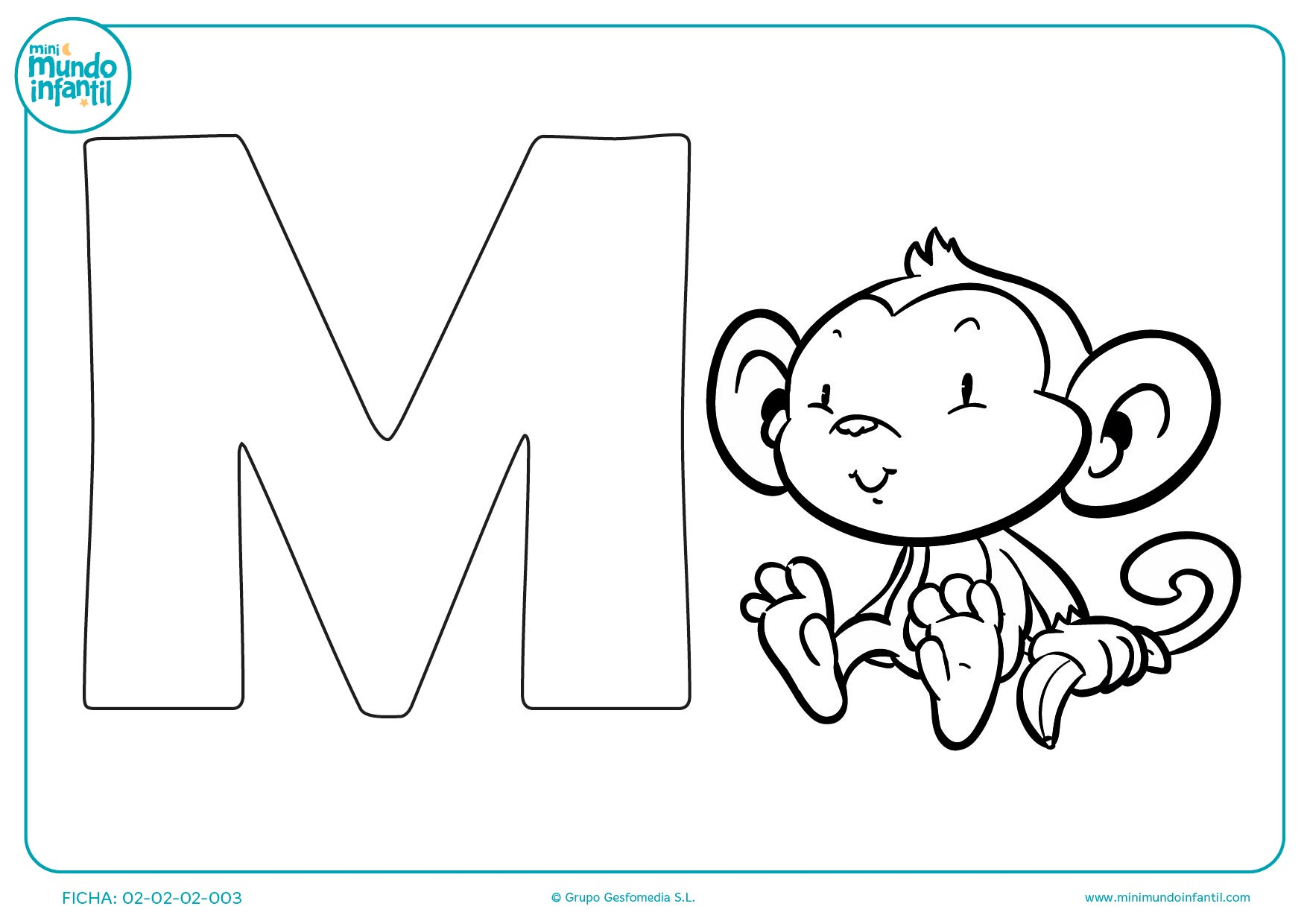 Actividad con la letra M de mono para niños de educación infantil