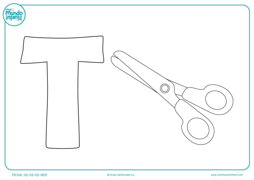 Colorear la letra T de tijeras con tus colores preferidos