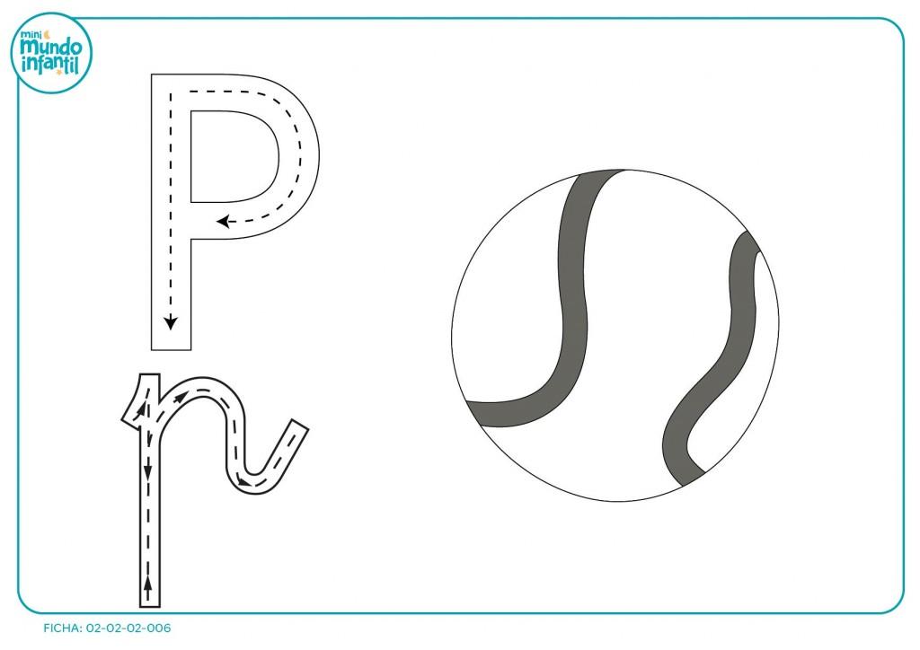 Colorea la imagen y sigue las flechas de la escribir la letra P