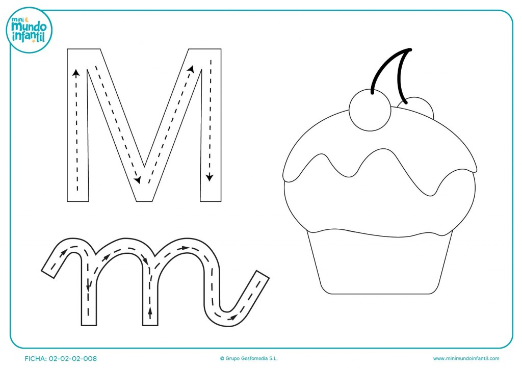 Trazar las líneas para aprender a trazar la letra M