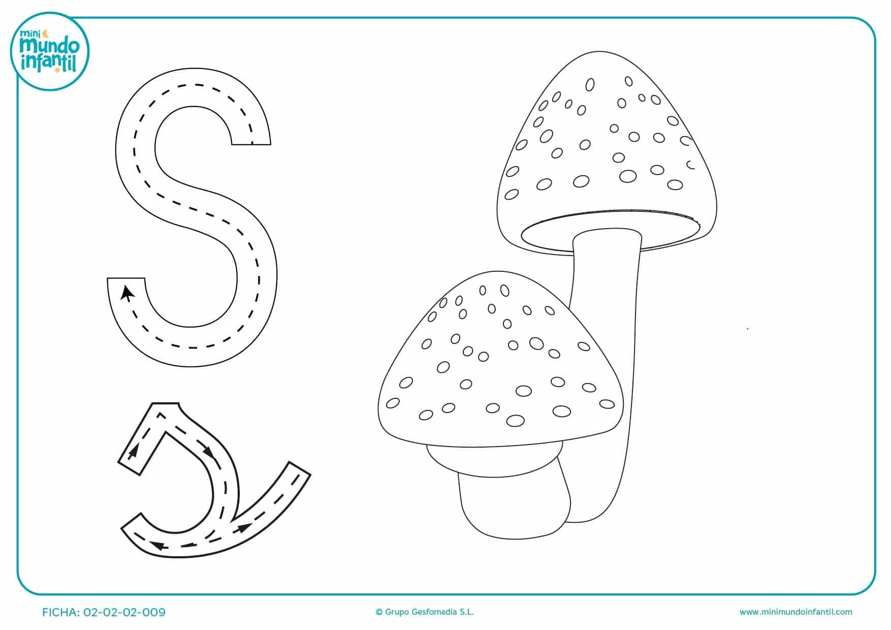 Sigue los trazos de la letra S mayúscula y minúscula y pinta las setas