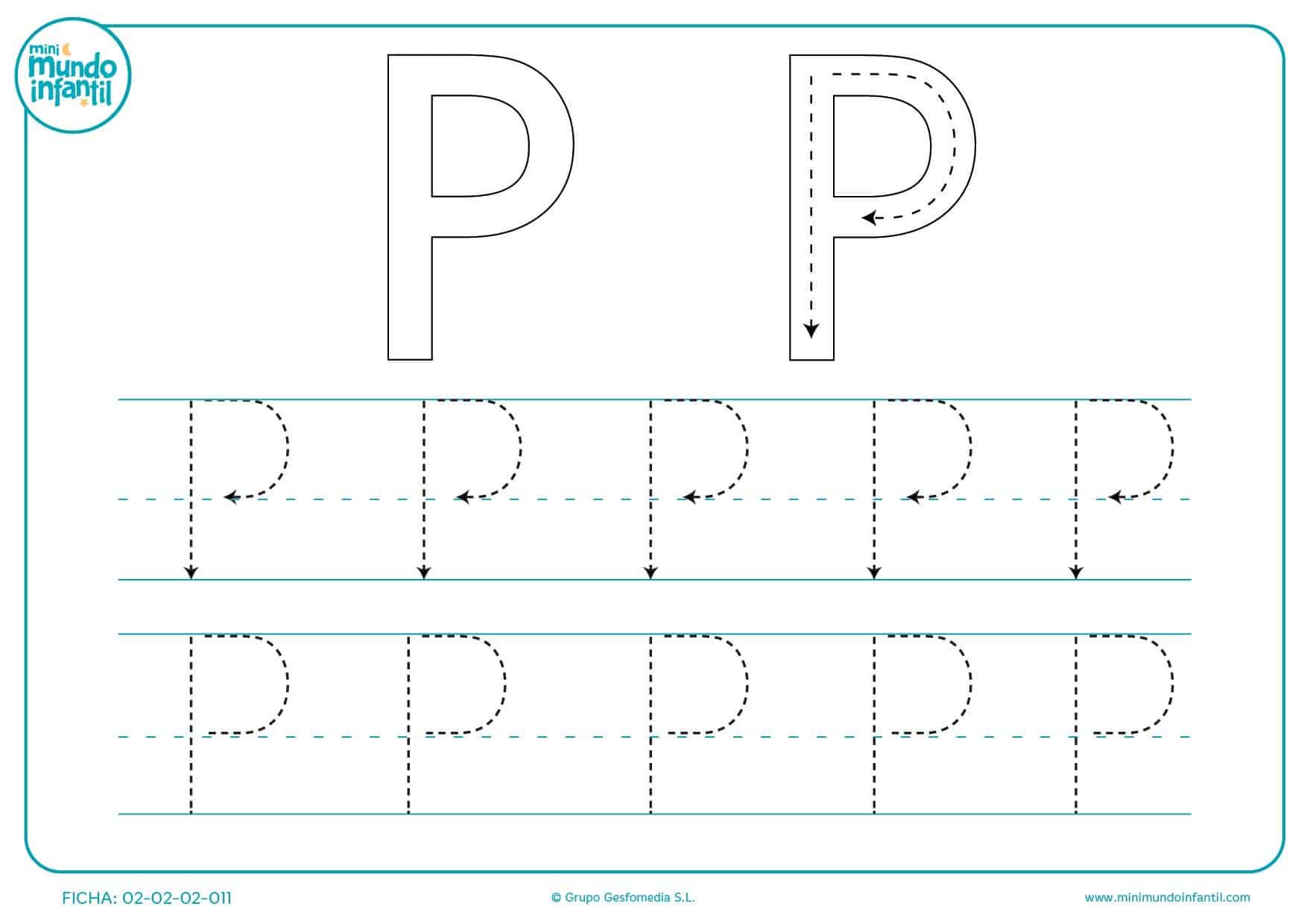 Ejercicio de repaso de la letra P mayúscula para educación infantil