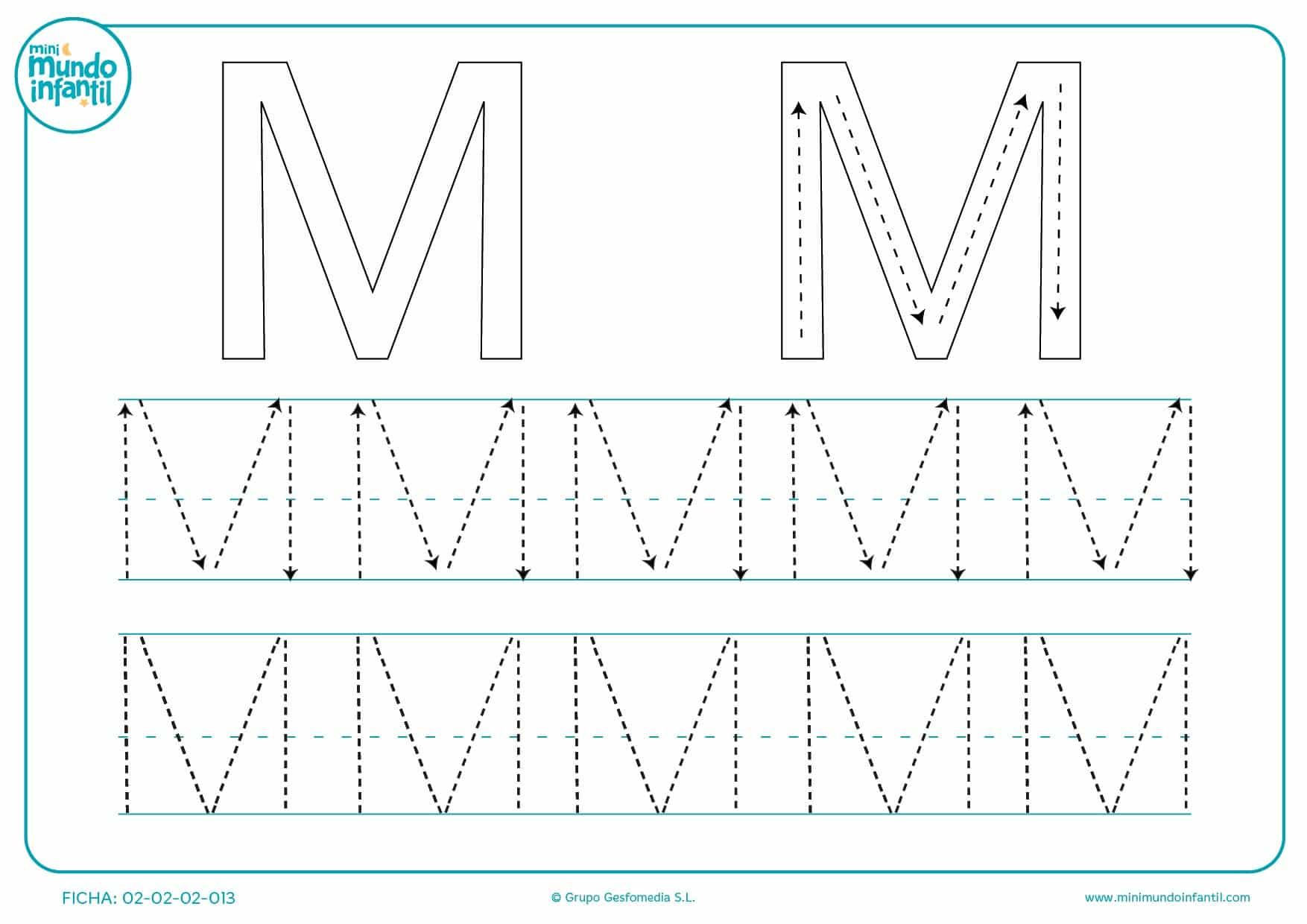 Tarea de repasar con y sin flechas los trazos de la letra M mayúscula