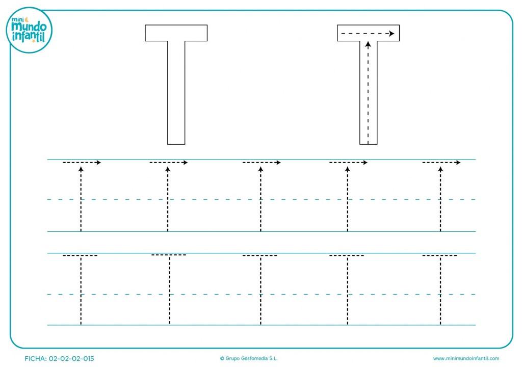 Seguir los trazos que forman la letra T mayúscula varias veces