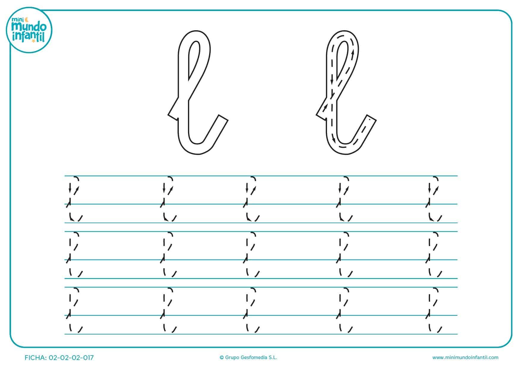Escribir con la ayuda de flechas y líneas la letra l minúscula