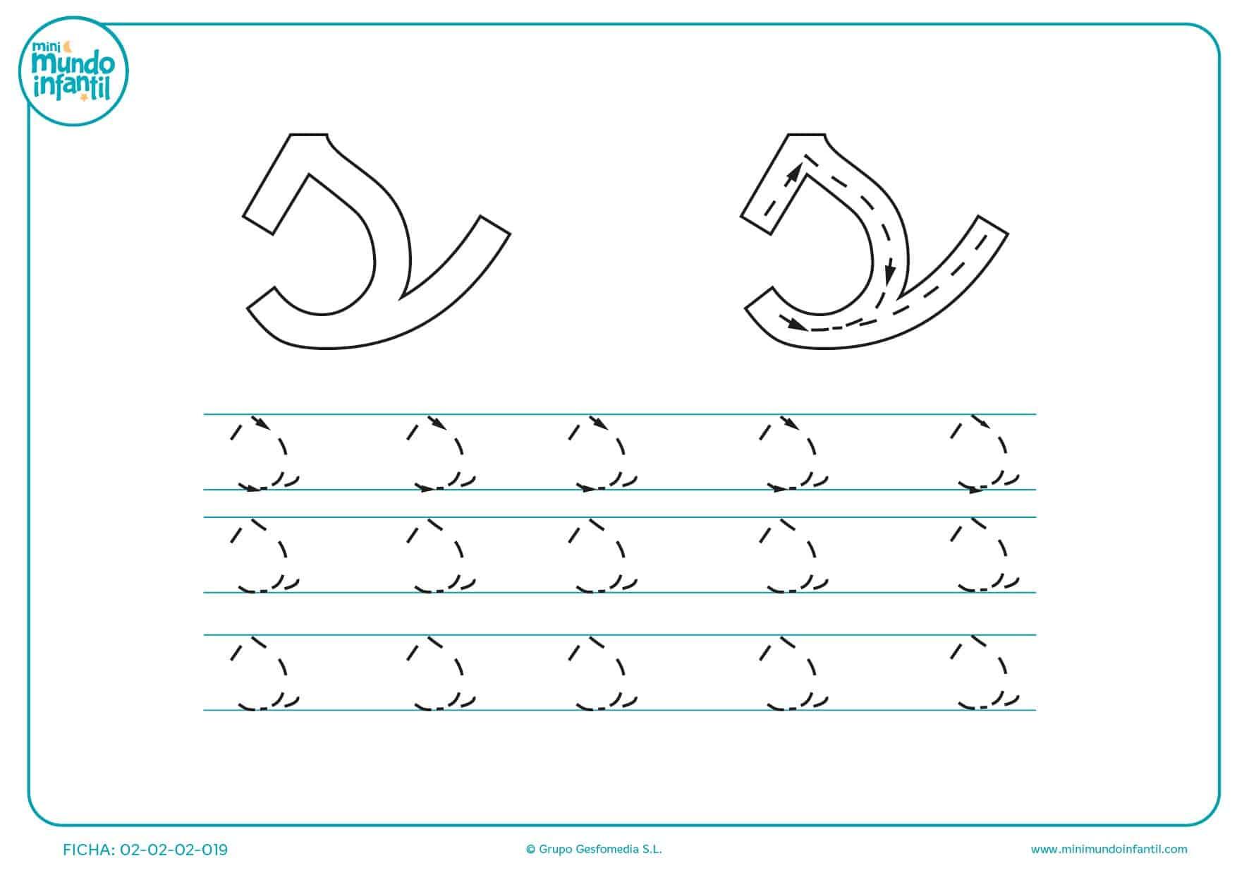 Sigue las flechas y repasa las líneas para traza la letra s minúscula