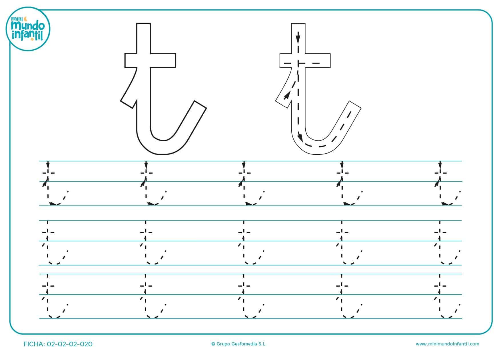 Siguiendo los trazos repite y aprende a escribir la letra t minúscula