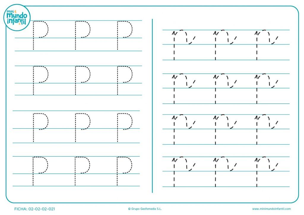 Trazar las líneas para completar la letra P