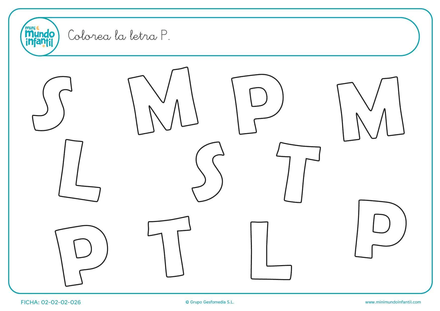Actividad de encontrar y colorear la letra P mayúscula para prescolar