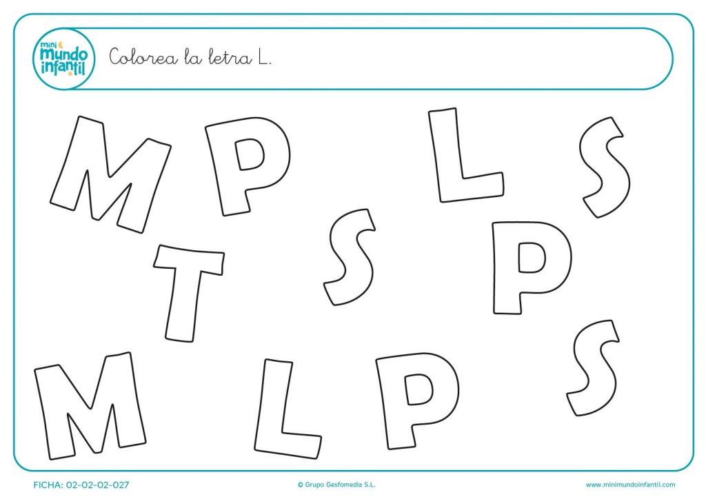 Tarea de aprendizaje de diferenciación de la consonante M mayúscula