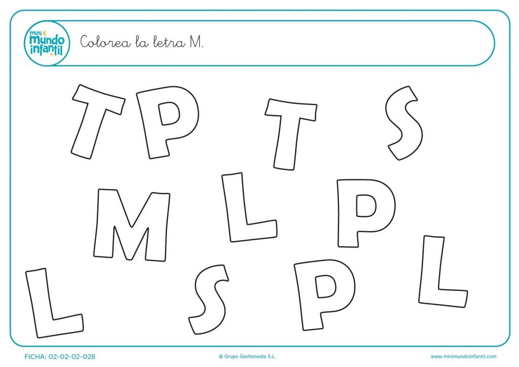 Ejercicio didáctico de encontrar la letra M mayúscula para infantil