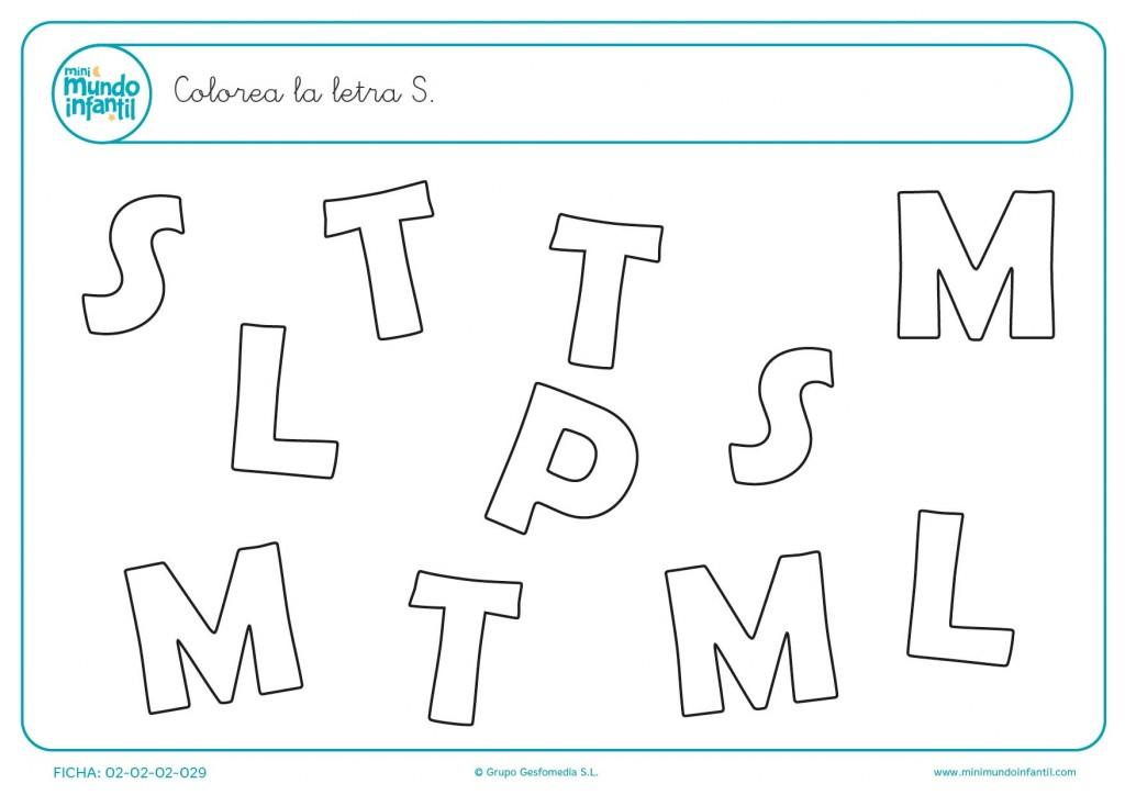 Distinguir las letras y colorear solo las letras S