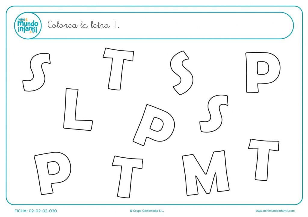 Busca, entre todas las consonantes, la letra T mayúscula y coloréala
