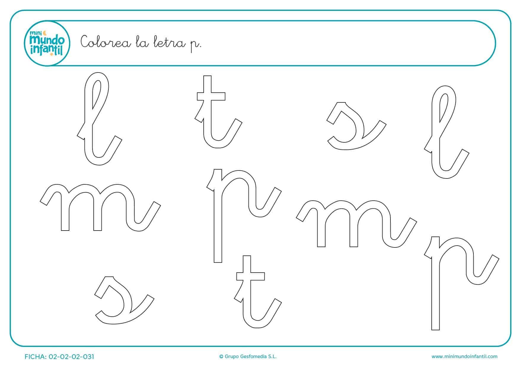 Plantilla para encontrar la consonante p de entre todas las letras