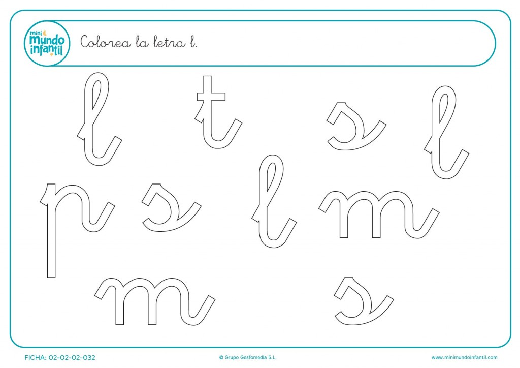 Ejercicio para infantil de encontrar y colorear la letra l minúscula