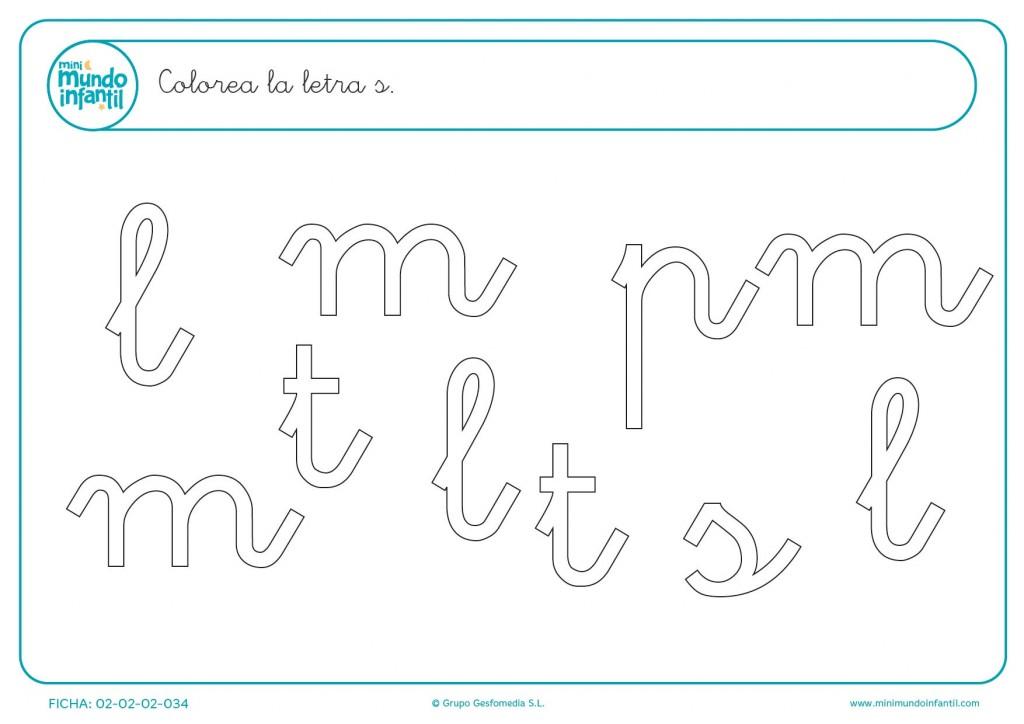 Busca y colorear todas las letras s minúscula que hay en la imagen