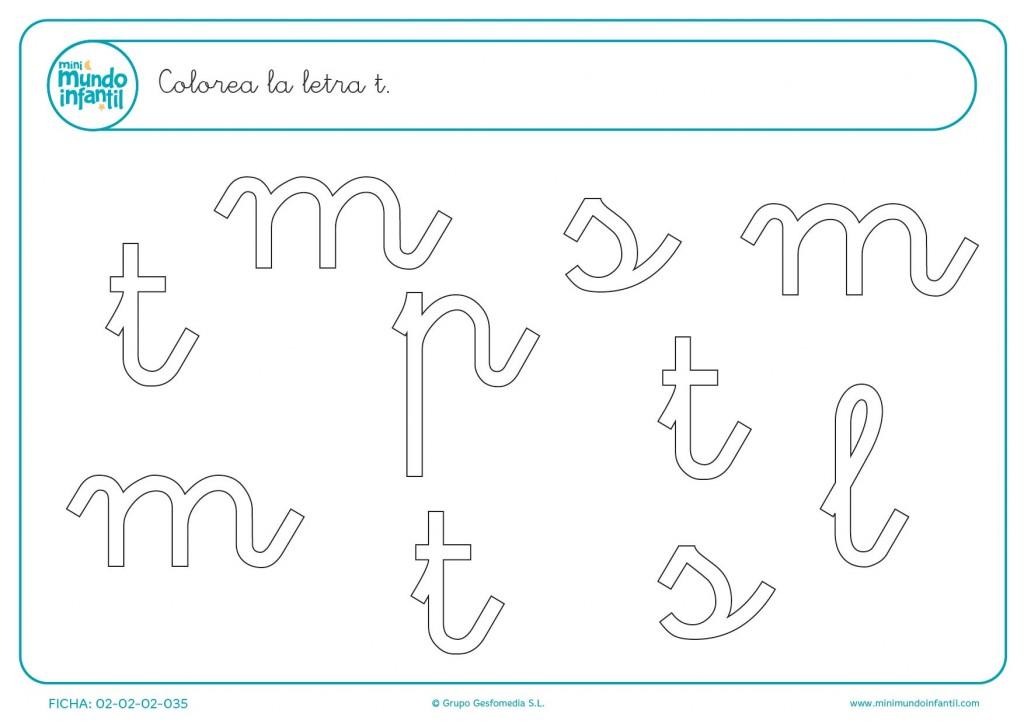 Encuentra todas las letras t minúscula y después coloréalas