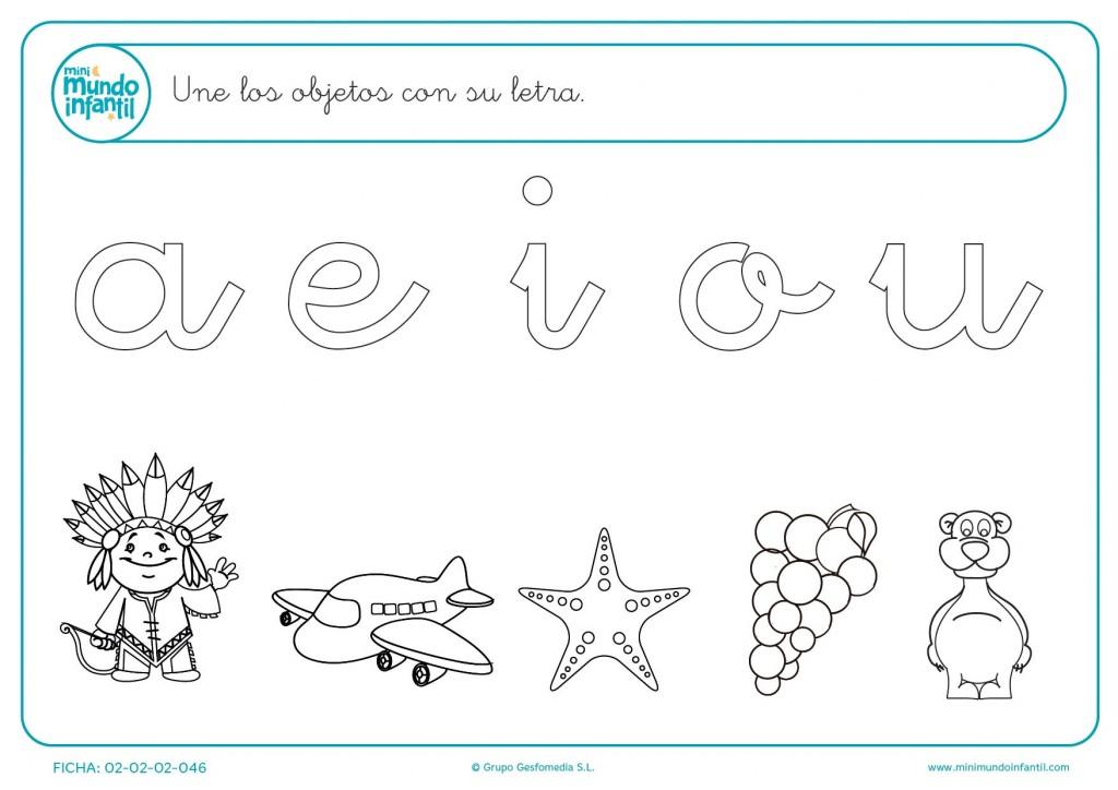 Une el dibujo con la vocal con la que empieza la palabra y coloréalos