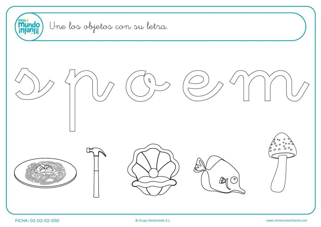 Junta con líneas de colores los objetos con la consonate o vocal