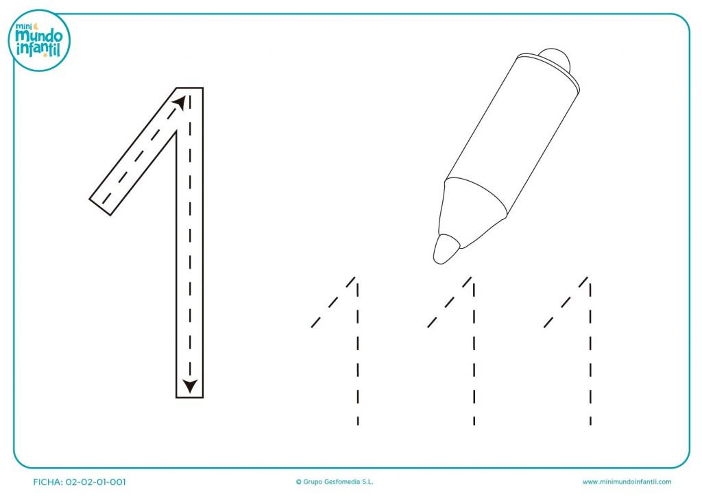 Con ayuda de un lápiz sigue los números y el trazo para niños
