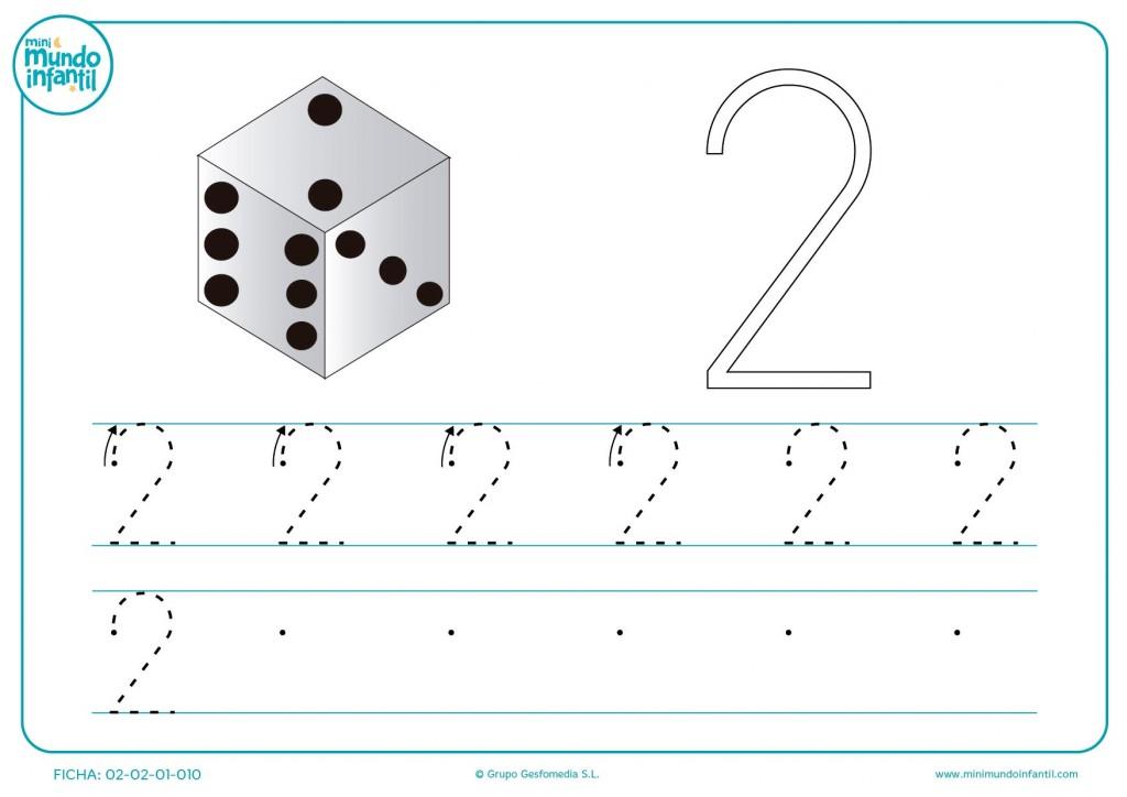 Mira el dado e imita todos los números 2 para aprender grafomotricidad