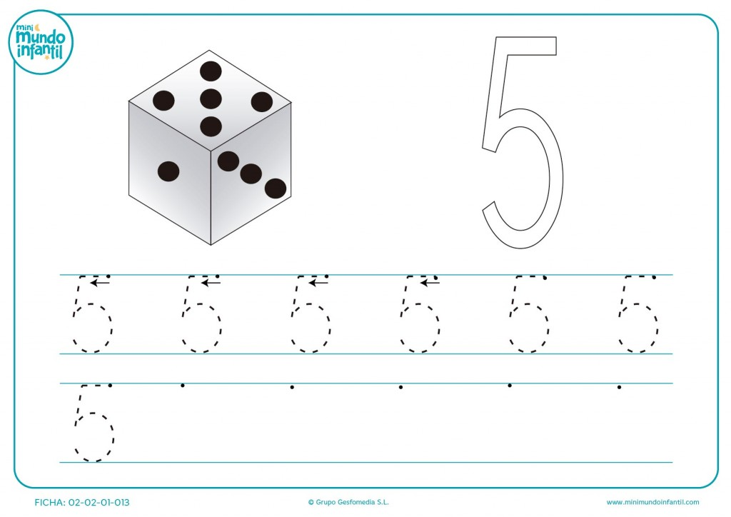 Dibujar con y sin líneas el número 5 para educación infantil
