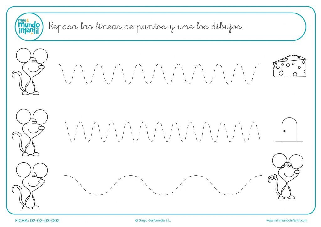 Continúa el camino de los ratones y traza líneas curvas para infantil