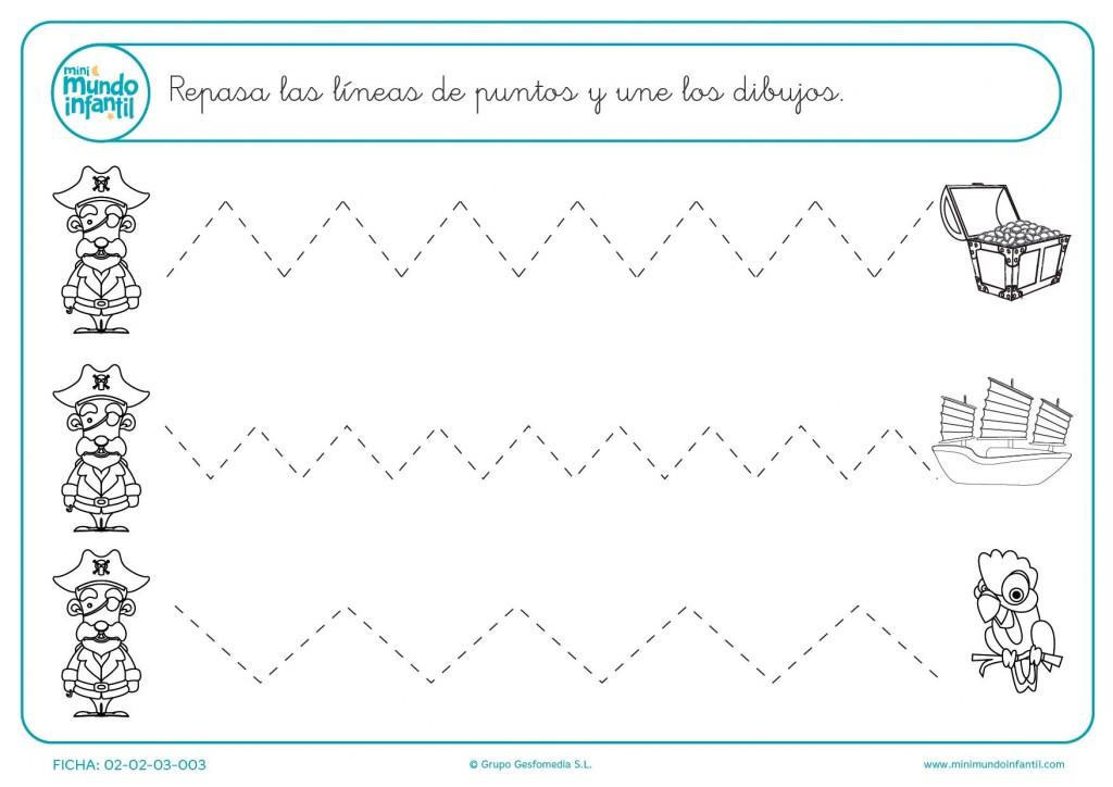 Aprende a trazar líneas en zigzag uniendo los dibujos en infantil