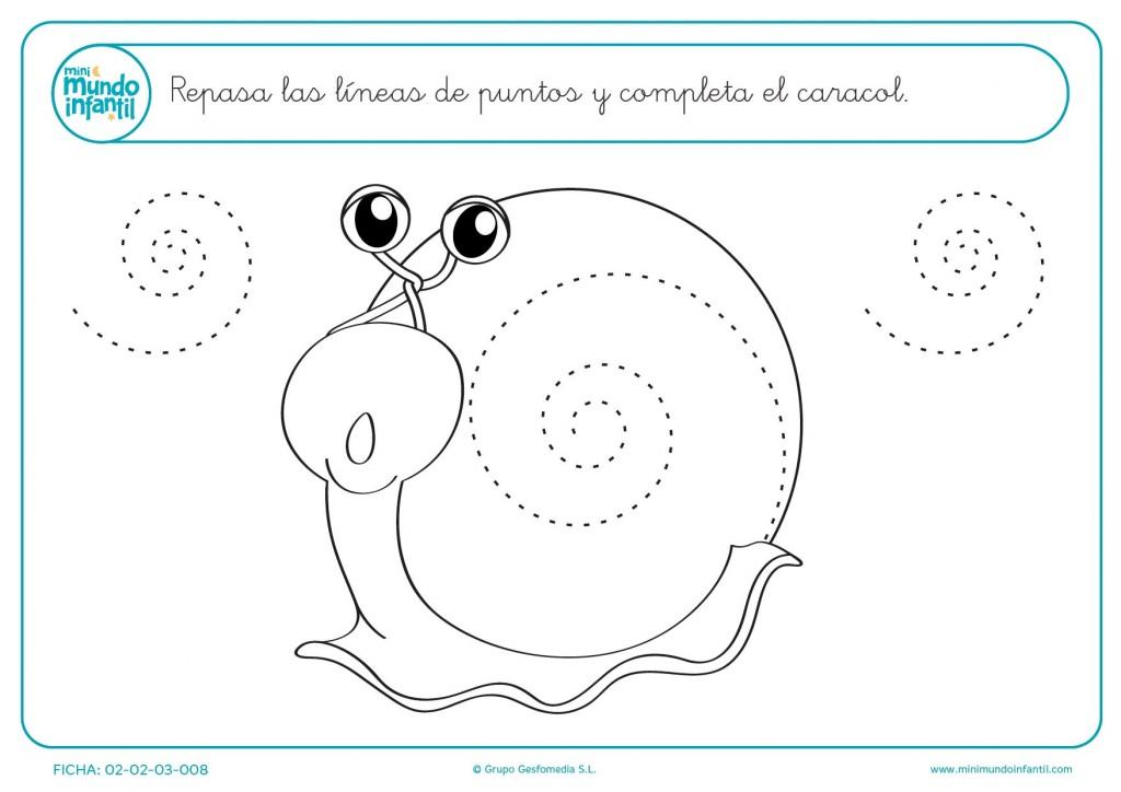 Completar el caracol dibujando espirales