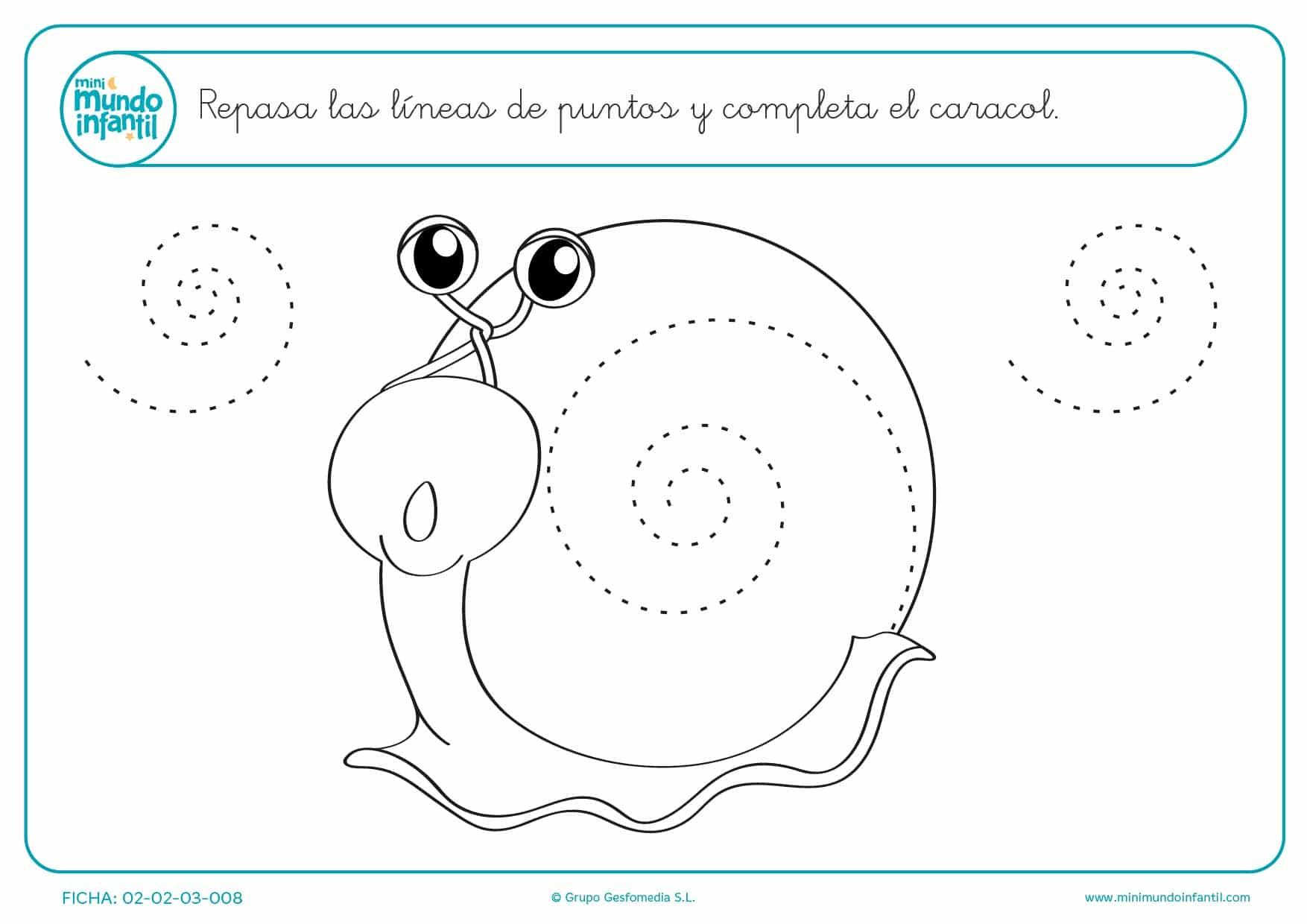 Completa el caracol dibujando espirales para niños de infantil