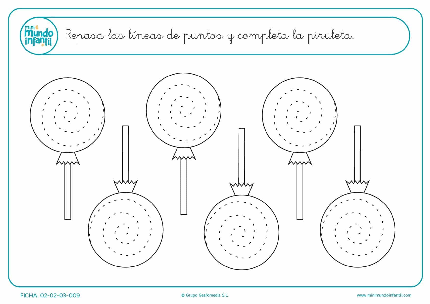 Repasa las espirales y completa las piruletas para niños de infantil
