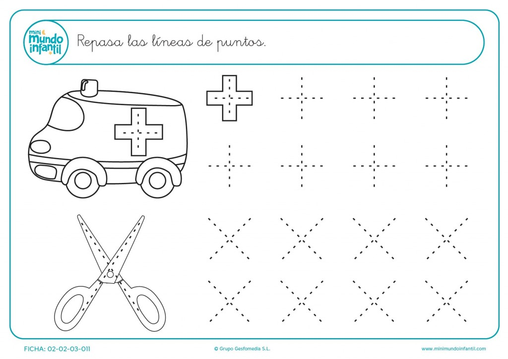 Repasa las cruces de la ambulancia y las tijeras para infantil