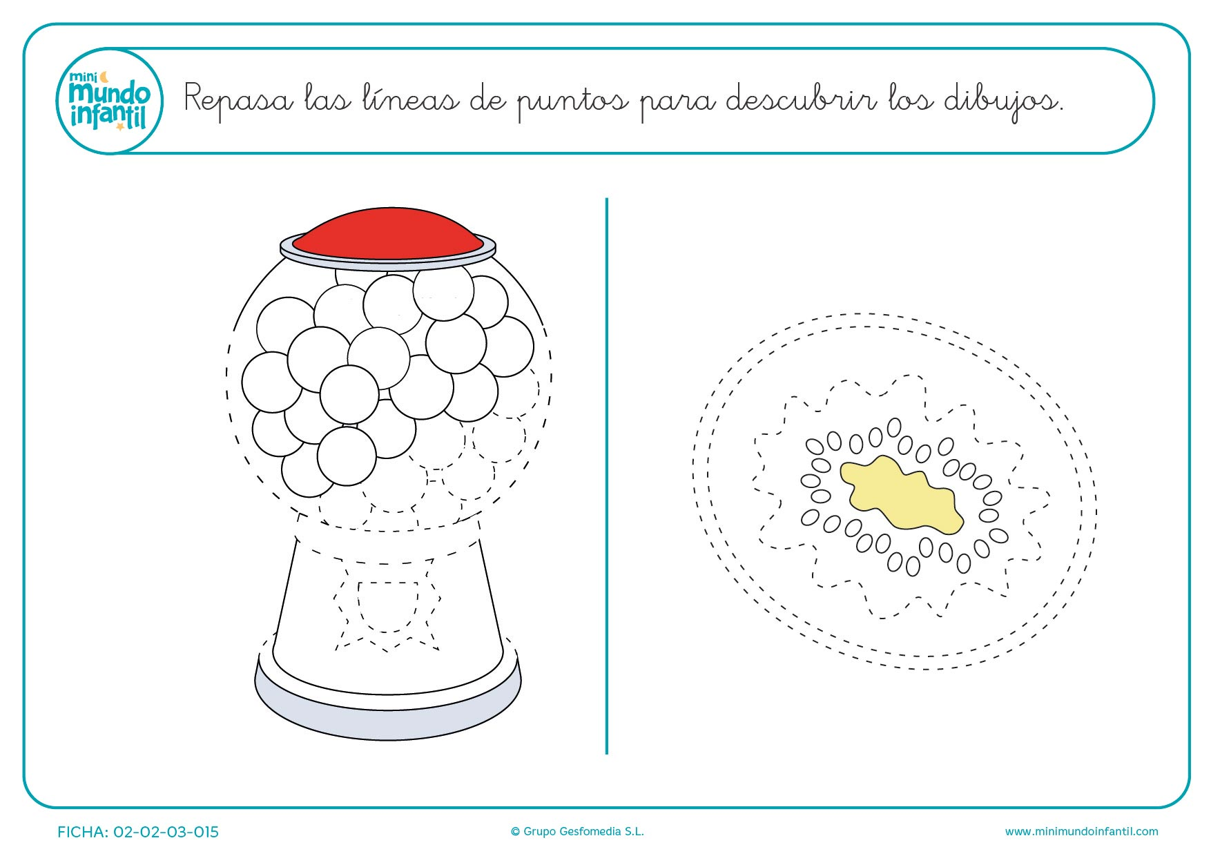 Pinta y colorea una máquina de chicles y un kiwi para niños prescolares