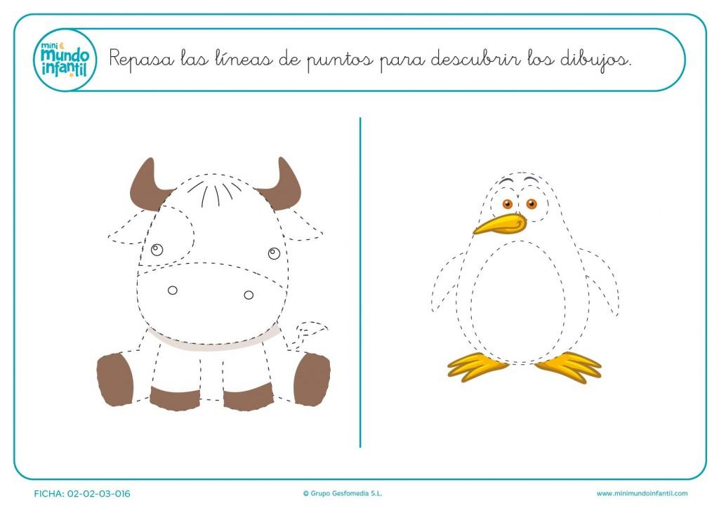 Completa la vaca y el pingüino para niños de educación infantil