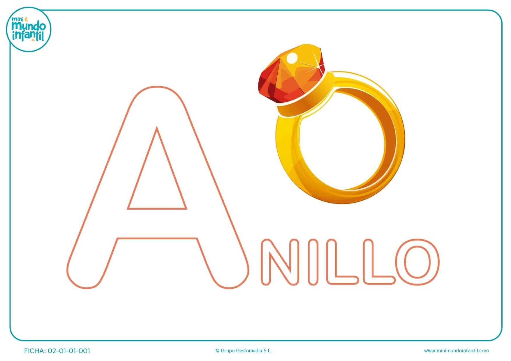 Colorear la letra A de anillo en mayúsculas