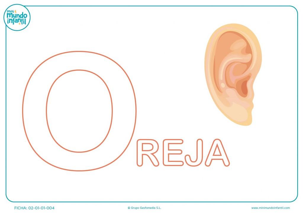 Completar la letra O de oreja en mayúsculas