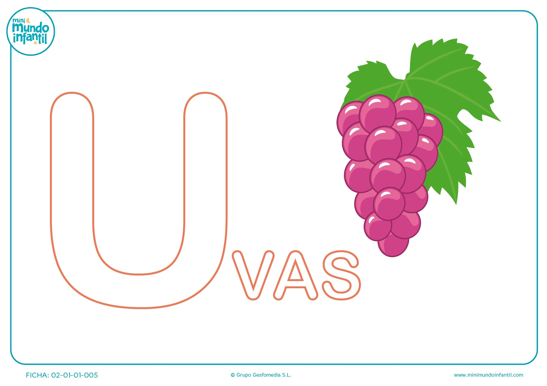 Poner color a la letra U de uvas en mayúsculas