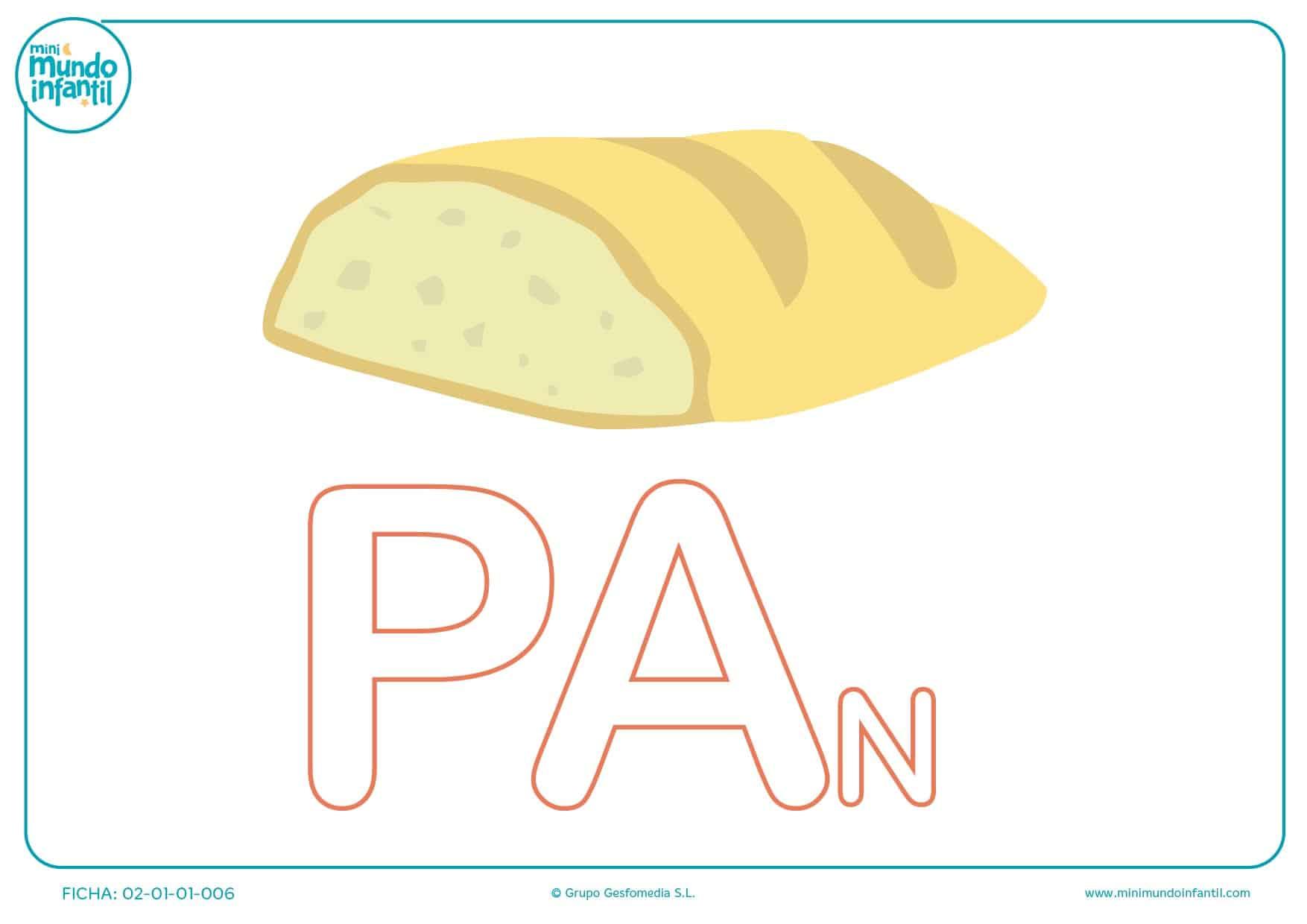 Colorear las letras PA de pan en mayúsculas