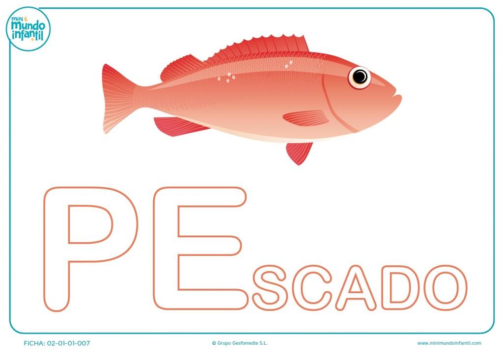 Rellenar las letras PE de pescado en mayúsculas