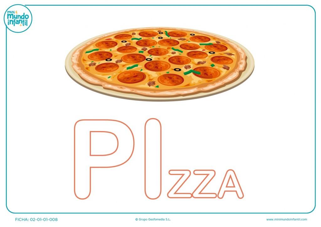 Pintar las letras PI de pizza en mayúsculas