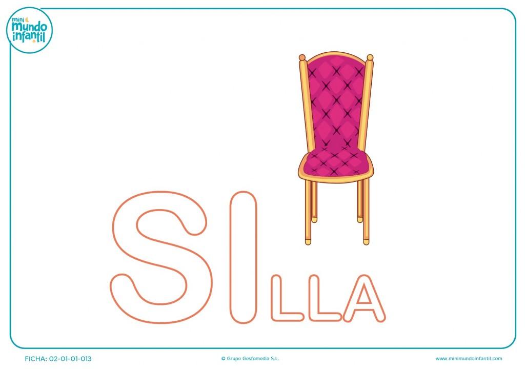 Pintar las letras SI de silla en mayúsculas