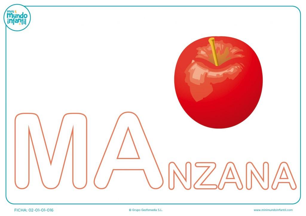 Colorear las letras MA de manzana en mayúsculas