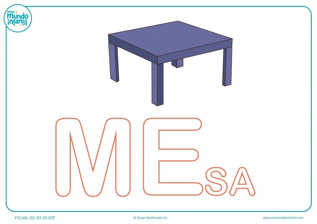 Rellenar las letras ME de mesa en mayúsculas