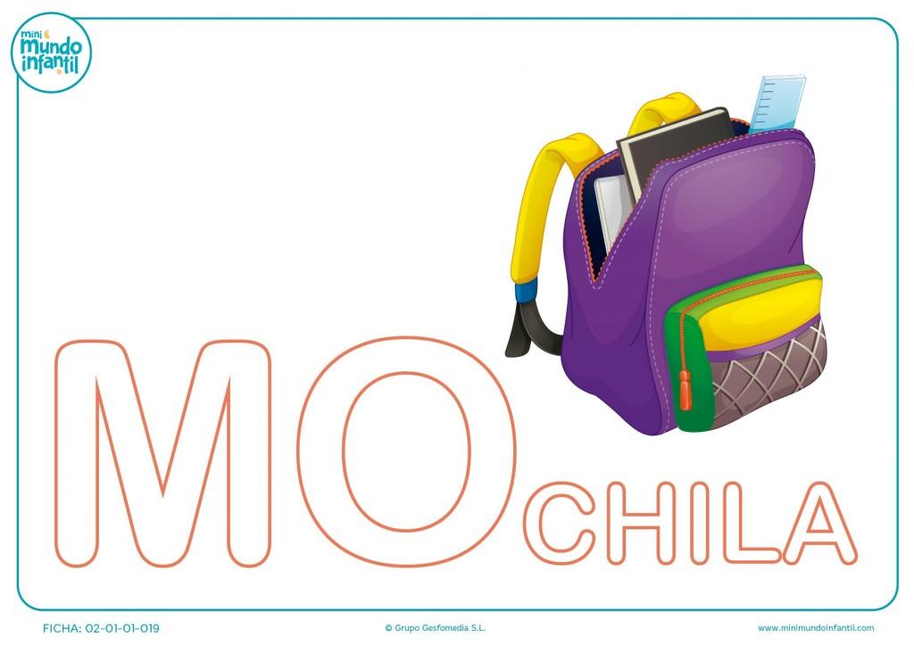 Completar las letras MO de mochila en mayúsculas