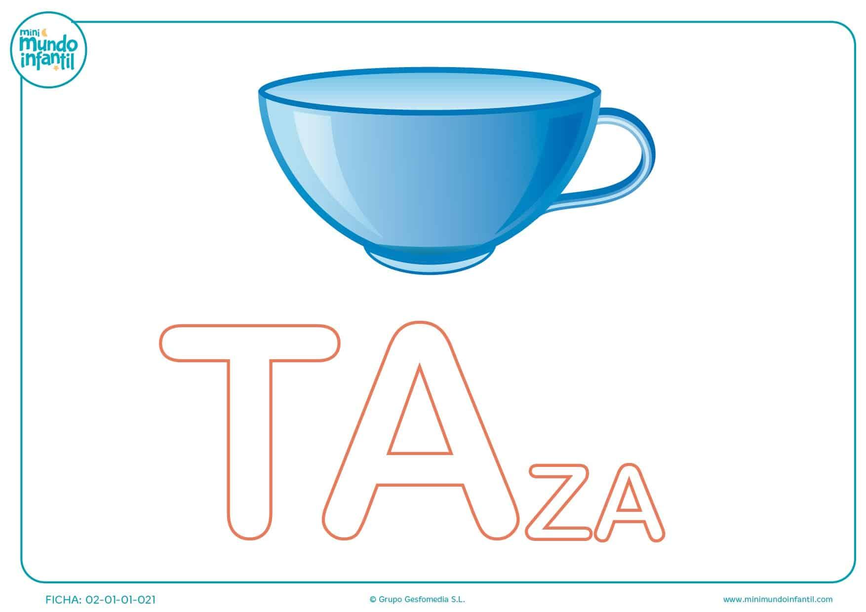 Colorear las letras TA de taza en mayúsculas