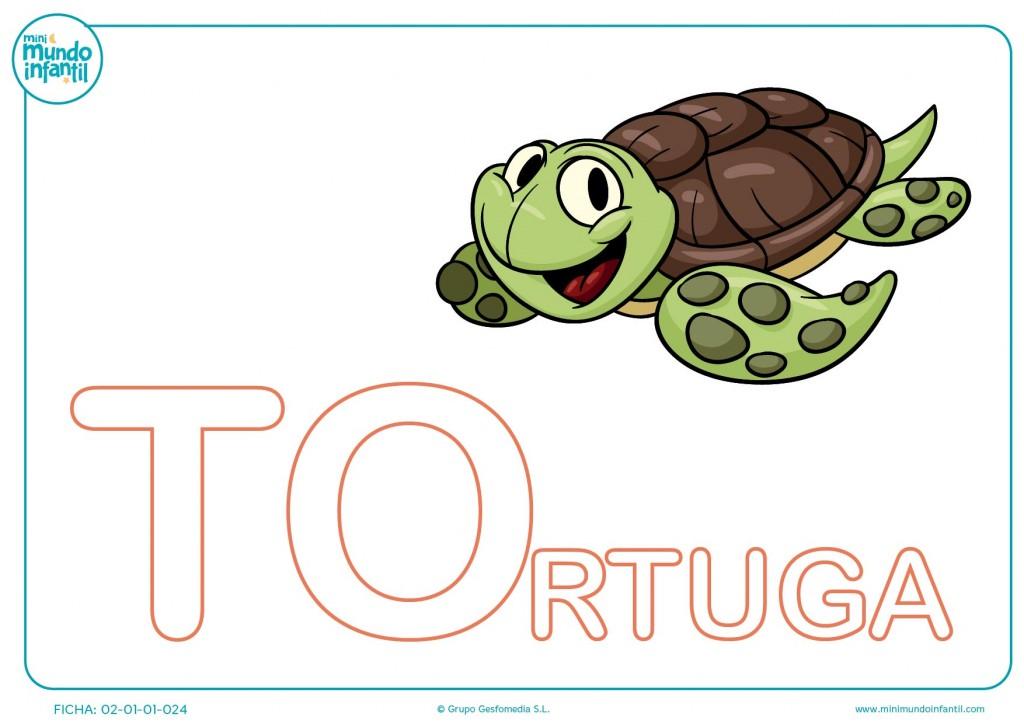 Completar las letras TO de tortuga en mayúsculas