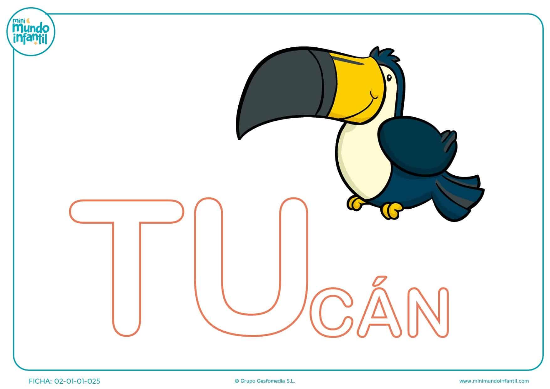 Poner color a las letras TU de tucán en mayúsculas