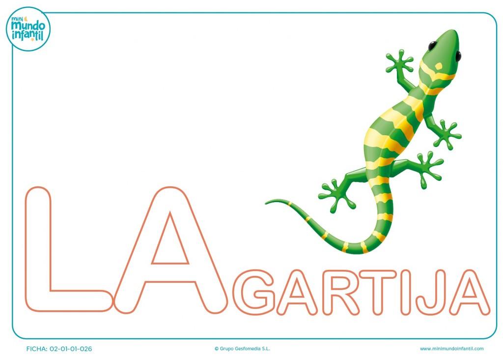 Pinta y rellena la sílaba LA de lagartija en mayúsculas para infantil